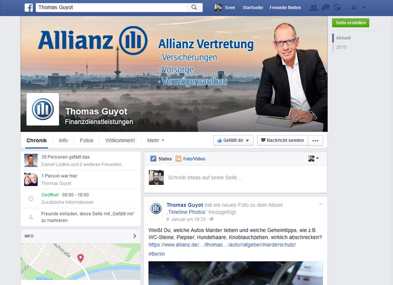 Facebook Webdesign Allianz Guyot